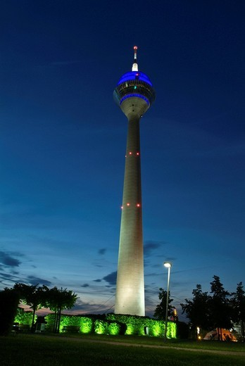 Telecommunications tower at night, Duesseldorf, North Rhine_Westphalia, Germany : Stock Photo