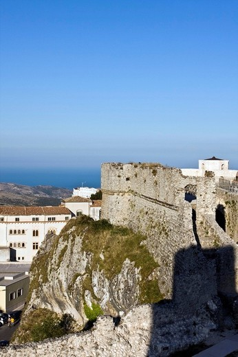 The Castle of Monte Sant´Angelo, haunted by the ghost of Bincalancia, Gargano, Foggia, Apulia, Italy, Europe : Stock Photo