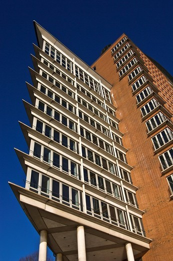 Exterior, Hanseatic Trade Center HTC, Hafencity district, Hamburg Harbour, Hamburg, Germany, Europe : Stock Photo