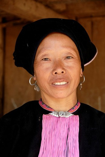 Stock Photo: 1848-15562 Poverty, portrait, ethnology, Yao woman dressed in a traditional costume, smiling with a turban headdress, village of Ban Namma Noi, Gnot Ou district, Yot Ou, Phongsali, Phongsali Province, Laos, Southeast Asia, Asia