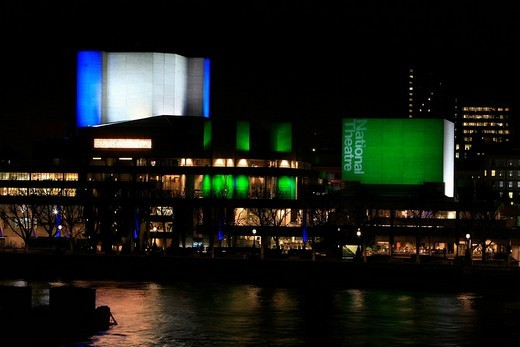 Illuminated concrete cubes alternating colour scheme of the National Theater in London, England, UK : Stock Photo