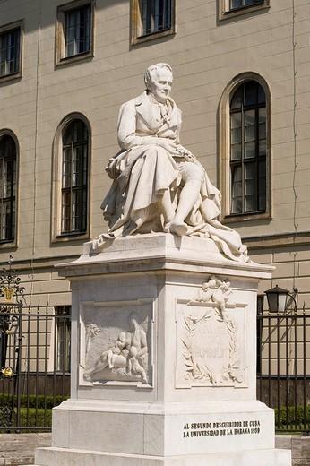 Statue of Alexander von Humboldt, Humboldt University, Berlin, Germany, Europe : Stock Photo