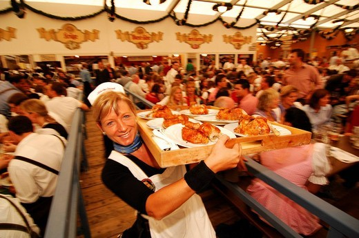 Waitress, roast chicken, Wies´n, October fest, Munich, Bavaria, Germany, Europe : Stock Photo