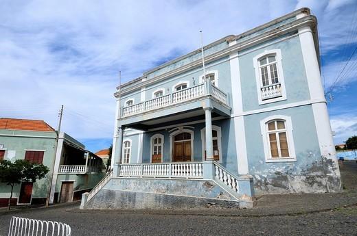 Townhall, colonial house, Sao Filipe, Fogo Island, Cape Verde Islands, Africa : Stock Photo