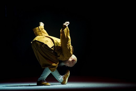 70_year_old Shaolin monk moving artfully in meditation : Stock Photo