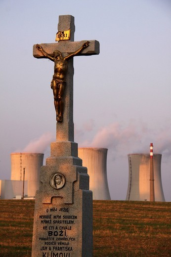 Crucifix in front of the Dukovany Nuclear Power Station of the CEZ Group, South Moravia, Czech Republic, Europe : Stock Photo