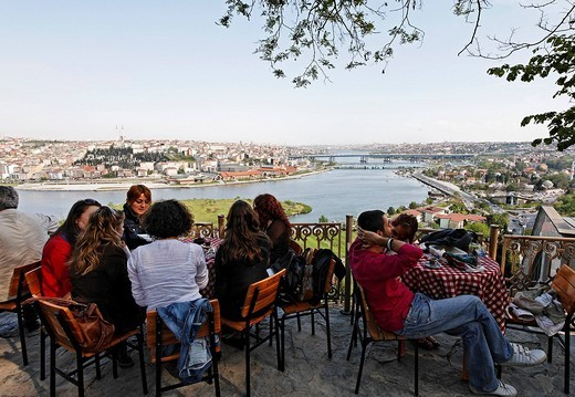 Panoramic view over the Golden Horn, Pierre Loti cafe, Eyuep, Istanbul, Turkey : Stock Photo