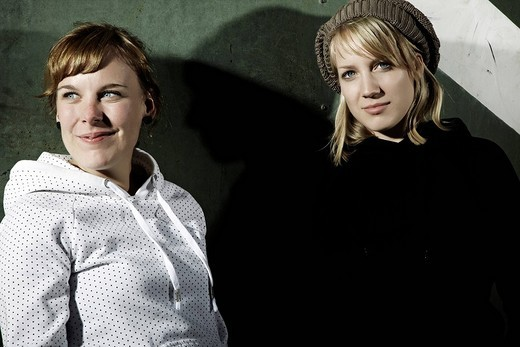 Portrait of two young women, cool youths : Stock Photo