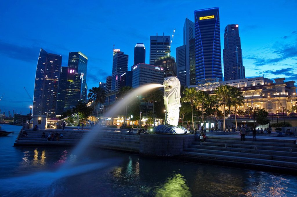 Stock Photo: 1848-156612 The Merlion, landmark of the metropolis of Singapore, designed by artist Fraser Brunner in 1964, Singapore River, Singapore, Southeast Asia