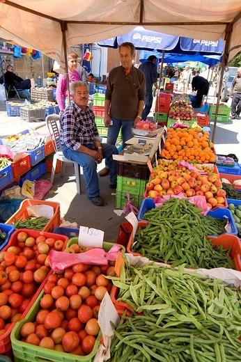 Market, vegetable stand, vendor, Nicosia, Cyprus, Greece, Europe : Stock Photo