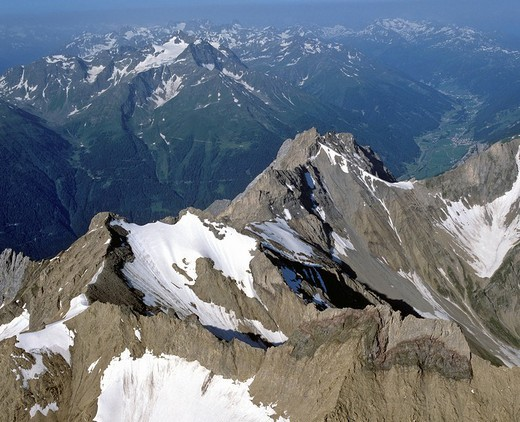 Parseierspitze, Lechtal Alps, behind Hoher Riffler in the Verwallgruppe, Tyrol, Austria : Stock Photo