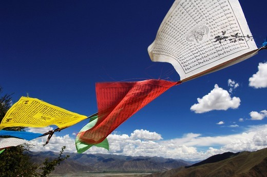 Stock Photo: 1848-157347 Prayer flags above the Ganden convent 4300m near Lhasa, Tibet