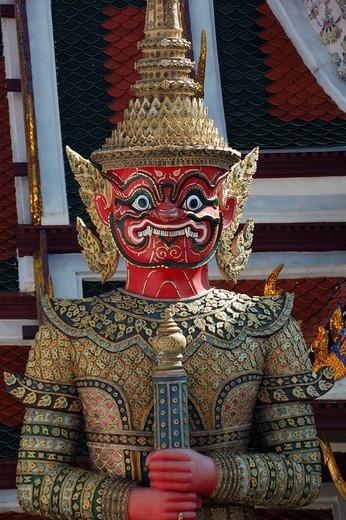 Temple guard, Wat Phra Kaew temple Temple of the Emerald Buddha, Bangkok, Thailand, South_East Asia, South_East Asia, South_East Asia : Stock Photo