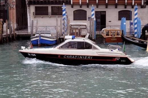 Carabinieri boat, Venice, Veneto, Italy, Europe : Stock Photo