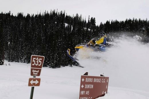 Snowmobile_action at Dunton Hot Springs, Colorado, USA : Stock Photo