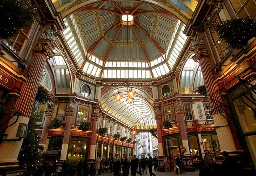 Leadenhall Market shopping arcade in the financial district of London, England, Great Britain, Europe : Stock Photo
