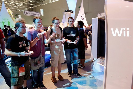 Nintendo Wii booth at the Entertainment Area of the Gamescom, the world´s largest fair for computer games in the Messe Koeln Exhibition Center, Cologne, North Rhine_Westphalia, Germany, Europe : Stock Photo
