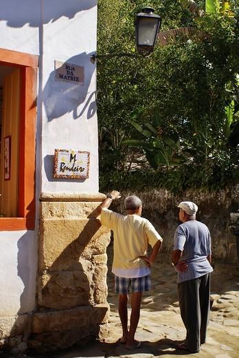 Old men chatting, Paraty, Brazil : Stock Photo
