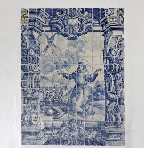 Azulejo with a religious motif in the Convento de Santa Clara, Funchal, Madeira, Portugal : Stock Photo