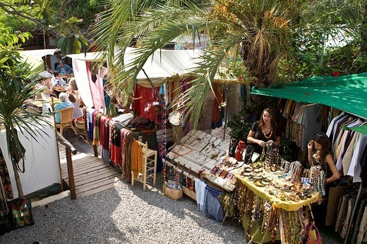 Famous hippie market near Sant Carles Carlos, Ibiza, Baleares, Spain : Stock Photo