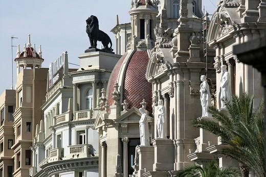 Stock Photo: 1848-159362 ESP, Spain, Valencia : Plaza Ayuntamiento, Avenida Marques De Sotelo, central city hall square