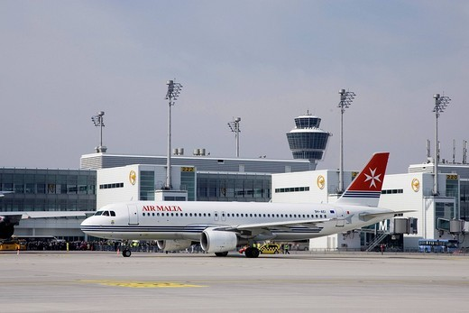 An Airbus A320 _ 200 typed aircraft of Air Malta taxies at Munich Airport, Bavaria, Germany : Stock Photo