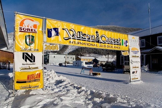 Stock Photo: 1848-159764 Yukon Quest Sled Dog Race banner in Dawson City, Yukon Territory, Canada, North America