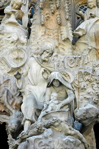 Stock Photo: 1848-159813 Detail of the facade of the Sagrada Familia, Church of the Holy Family, architect Antoni Gaudi, catherdrale, Barcelona, Catalonia, Spain