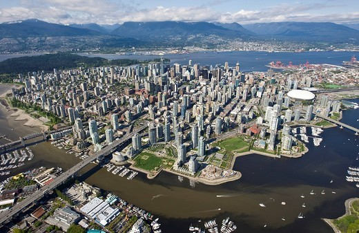 North False Creek and West End, Granville St, Vancouver, British Columbia, Canada, North America : Stock Photo