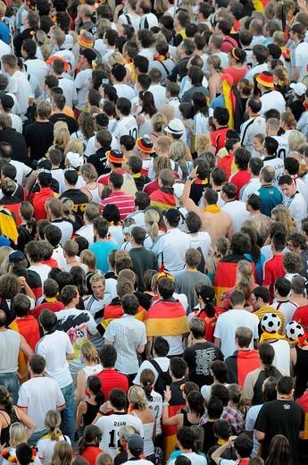 UEFA European Football Championship 2008, public viewing on Schlossplatz Square, fans, Stuttgart, Baden_Wuerttemberg, Germany, Europe : Stock Photo