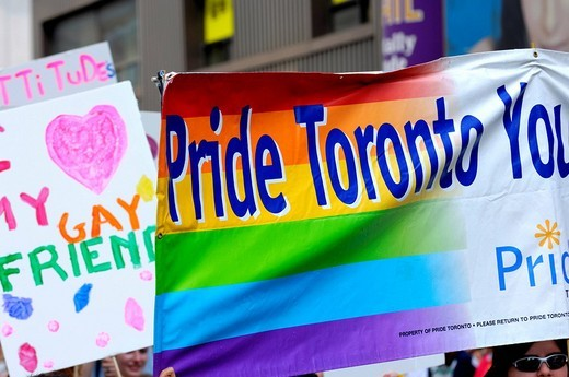 Banners at Gay and Lesbian Pride Parade, Toronto, Ontario, Canada, North America : Stock Photo
