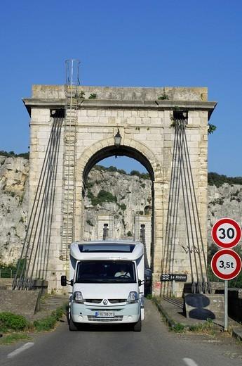 Campervan at Bourg_Saint_Andeol, Rhône, Ardèche, Rhône_Alpes, France, Europe : Stock Photo