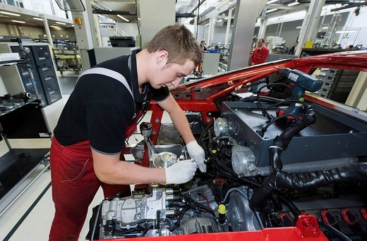 Stock Photo: 1848-160522 Audi employee assembling an Audi R8 sports car in the Audi R8 assembly hall, Baden_Wuerttemberg, Germany, Europe