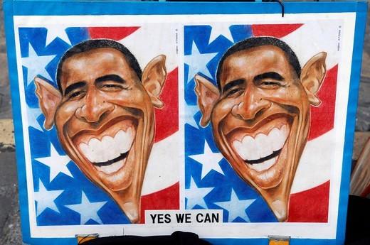 Stock Photo: 1848-160613 Caricature of Barack Obama, Place du Tertre, Montmartre, Sacre Coeur, Paris, France, Europe