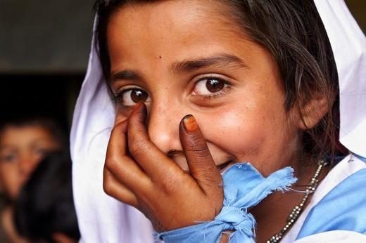 Stock Photo: 1848-160907 Portrait of a girl in school uniform, Manshera, NWFP, Pakistan