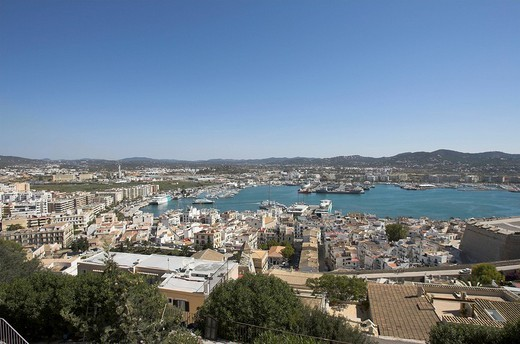Stock Photo: 1848-161080 Ibiza city, old part of town with harbour, Ibiza, Spain