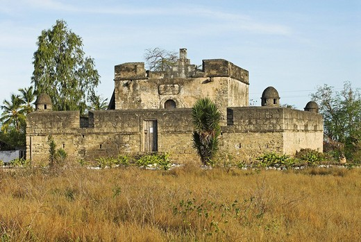 Portuguese fortress in the ghost town of Ibo Island, Quirimbas islands, Mozambique, Africa : Stock Photo
