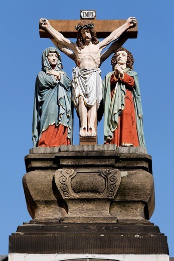 Historic crucifixion group, Trier, Rhineland_Palatinate, Germany : Stock Photo