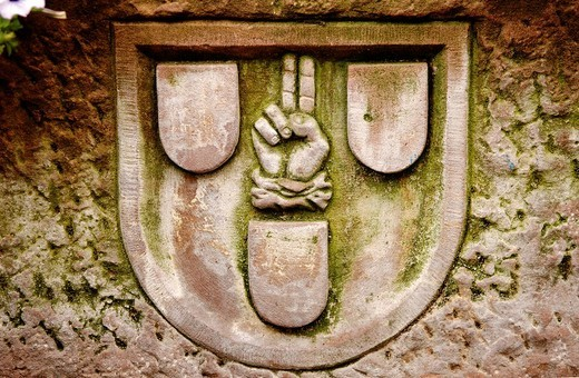 Emblem carved into a fountain, Kaysersberg, Alsace, France, Europe : Stock Photo
