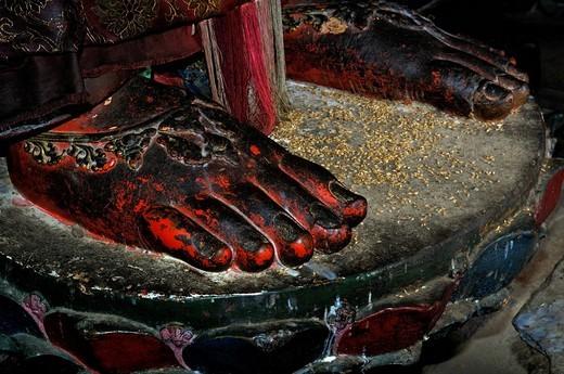 Feets of a Buddha statue, Palcho Monastery or Pelkor Chode Monastery or Shekar Gyantse, Gyantse, Tibet : Stock Photo