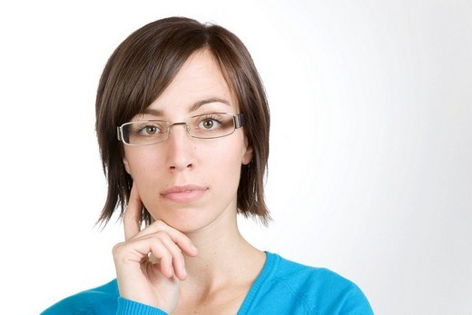 Stock Photo: 1848-16200 Young woman wearing glasses