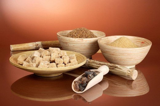 Sugar assortment in wooden bowls : Stock Photo