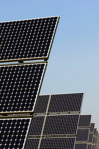 Solar electricity plant, solar panels : Stock Photo