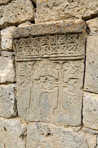 Historic Armenian cross_stone, khachkar, Tatev Monastery, Armenia, Asia : Stock Photo