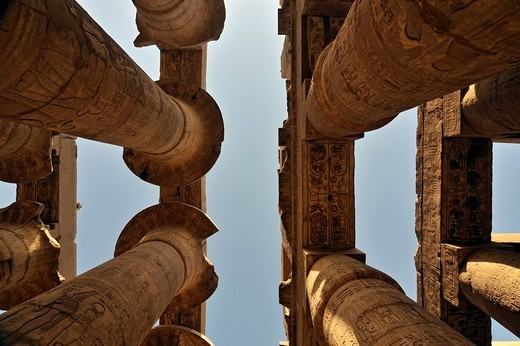 Colossal papyrus columns of Great Hypostyle Hall, precinct of Amun_Re, Karnak temple complex near Luxor, Egypt, North Africa : Stock Photo