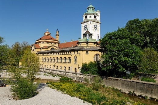 Muellersches Volksbad at the Isar river, Munich, Bavaria, Germany : Stock Photo