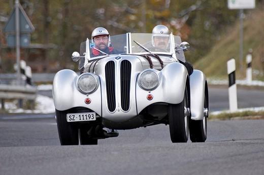 BMW 328, built 1939, Jochpass Memorial 2007, Bad Hindelang, Bavaria, Germany : Stock Photo