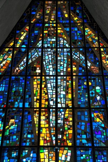 Stock Photo: 1848-163641 Image of Jesus on a colourful stained glass window, Ishavskatedralen Arctic Cathedral aka Tromsdalen Church, Tromsoe, Norway
