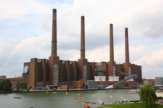 Volkswagen factory, Wolfsburg, Lower Saxony, Germany, Europe : Stock Photo