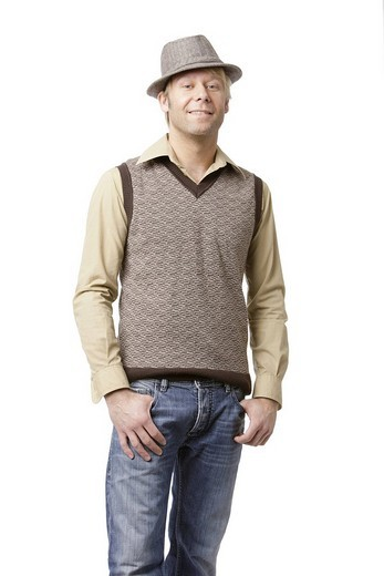 Man wearing a tank top and hat : Stock Photo